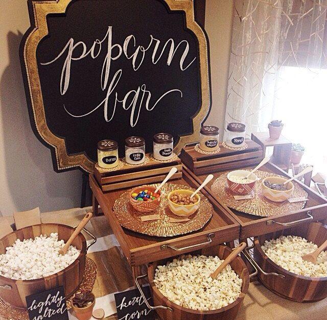 Popcorn Bar, Wedding Food Bars, Wedding Food, Wedding ideas, Wedding Reception Ideas, Reception Food, Bridal Shower Food, Bridal Shower Food Bars (smores bar recipe mouths)