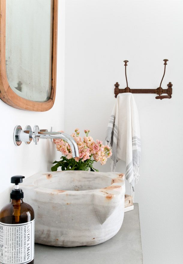 When I was designing the studio bathroom, I wanted to create a few interesting elements for the space. Originally, I was going to use an old dresser for the vanity but it just never felt right. I c…