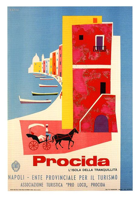 Procida, Italy #tourism #poster by Mario Puppo, 1954