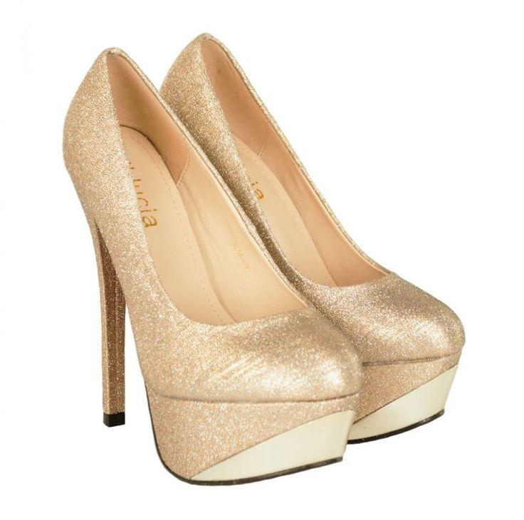 Pantofi Dama Brilliant Nud  -Pantofi dama eleganti  -Detaliu insertie fina cu lame  -Toc stiletto 15cm  -Platforma 4,5cm