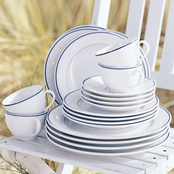 Apilco Tradition Blue-Banded Porcelain Dinnerware Place Settings | Williams-Sonoma