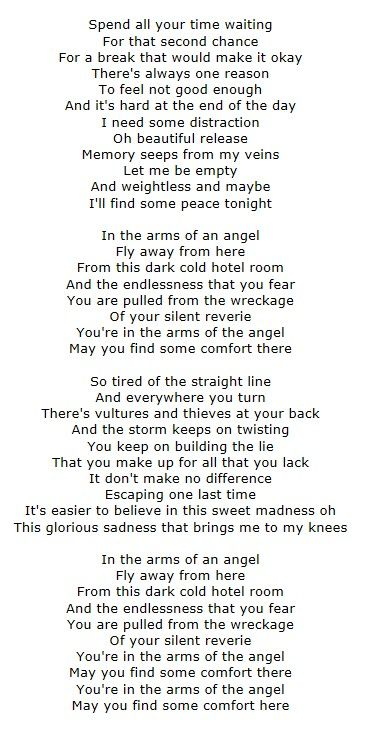 'Angel' lyrics - Sarah McLachlan.  So beautiful and moving.