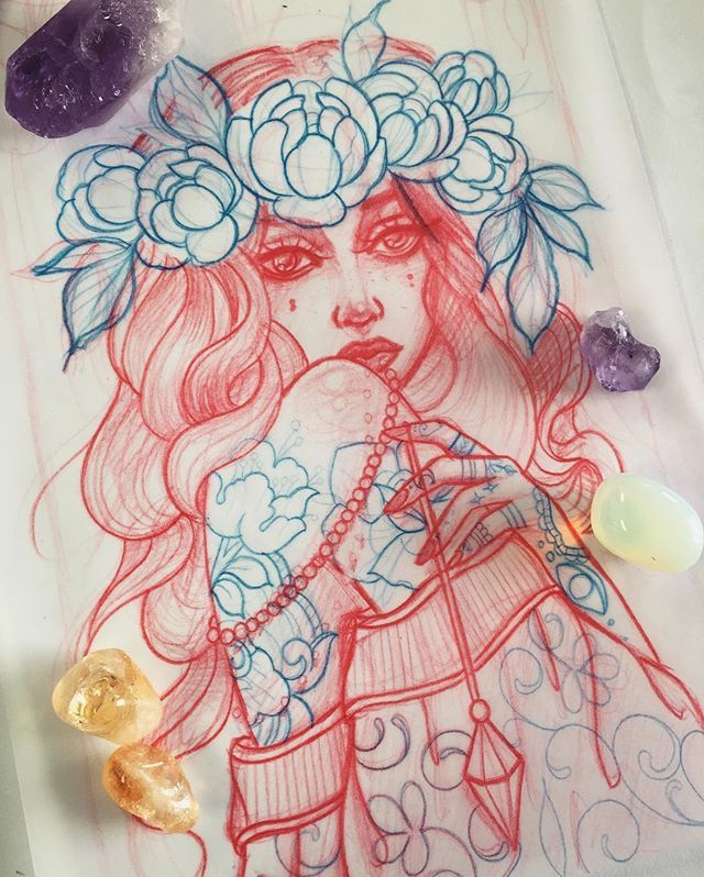 Rough draft  #girl #female #witch #gypsy #flower #flowers #peony #peonies #flowercrown #crown #rose #roses #pendulum #mandala #henna #filigree #moon #crescent #crescentmoon #eye #stars #crystal #crystals #sketch #pencilsketch #wip #tattoos #tattoo