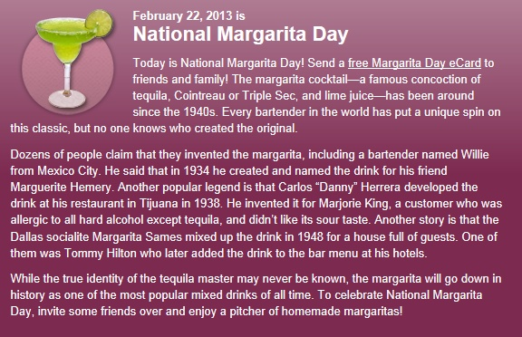 Celebrate National Margarita Day with a Margarita in Piccolo!