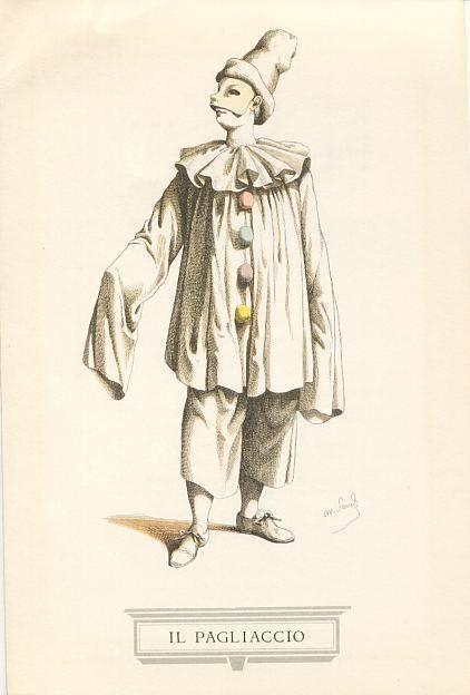 Pagliaccio: El payaso, sería una de las primeras máscaras de circo junto al Pierrot francés. - Commedia dell'Arte