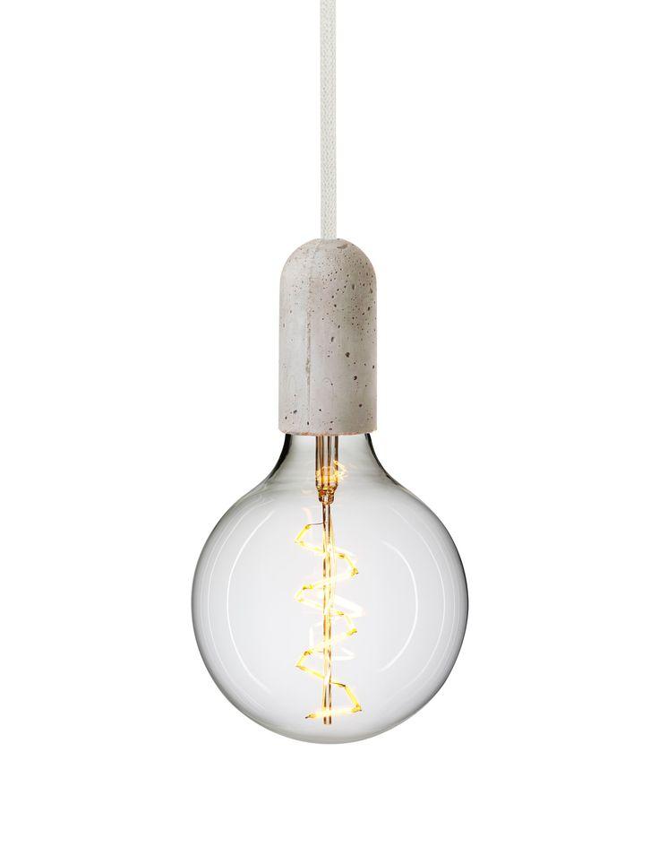 Rustic concrete light - cord in whipped cream #pendantlight #concretelight