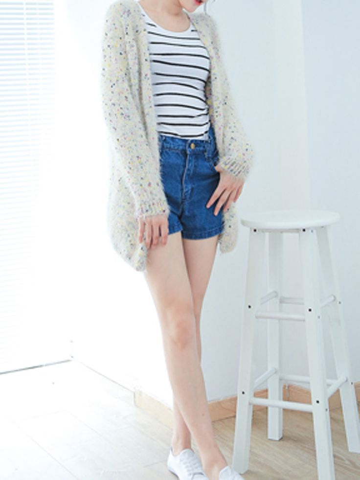 Beige Fluffy Open Front Cardigan With Colorful Polka Dot - Fashion Clothing, Latest Street Fashion At Abaday.com