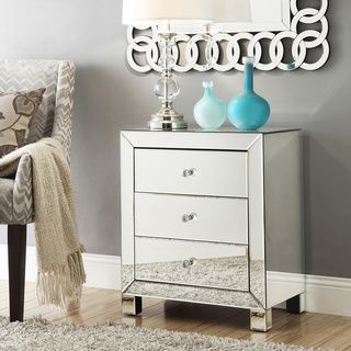 nihoa mirrored 3 drawer accent table this contemporary end table