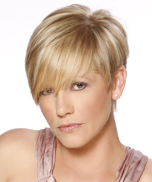 Short Straight Formal Hairstyle with Side Swept Bangs ...
