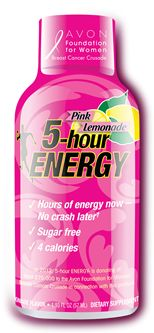 Starting October 1, 2012 and running through December 31, 2012, five cents per bottle of each sale of new Pink Lemonade 5-hour ENERGY® will be donated to the Avon Foundation for Women Breast Cancer Crusade.
