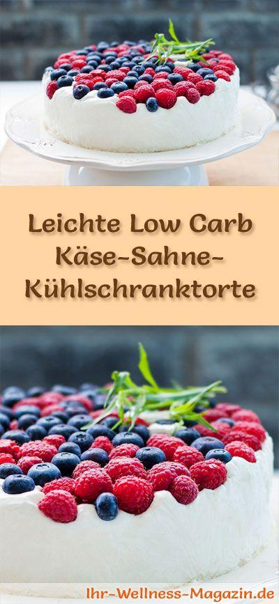 Rezept für eine leichte Low Carb Käse-Sahne-Kühlschranktorte: Der kohlenhydratarme Kuchen wird ohne Zucker und Getreidemehl zubereitet. Er ist kalorienreduziert, ...
