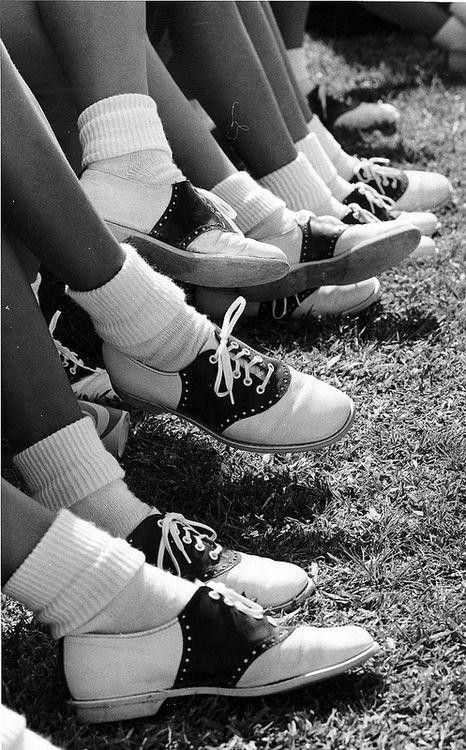 Saddle shoes......wore these(white soled only) in High School for cheerleading.....