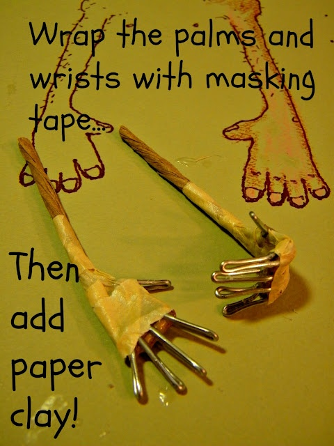 how to make hand frames for paper clay dolls.