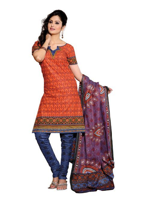 Amazon.com: Indian Designer Wear Pure Cotton Orange Printed Salwar kameez: Clothing