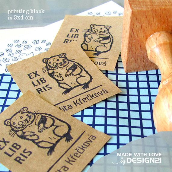 Hamster: personalised rubber stamp 3x4 cm by lida21 on Etsy