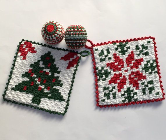 2 C2c Crochet Pattern Christmas Potholder With Tree Or Star Etsy In 2020 Crochet Christmas Decorations Christmas Crochet Christmas Potholders