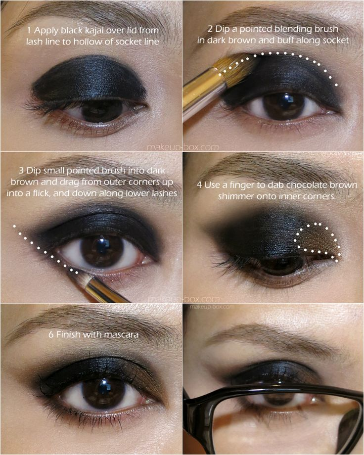 The winged eye portion of the Beta Baby look.   GREAT FOR GLASSES WEARERS! To see products and other details, click through to visit the pictorial page! #makeup #beauty #smokyeyes