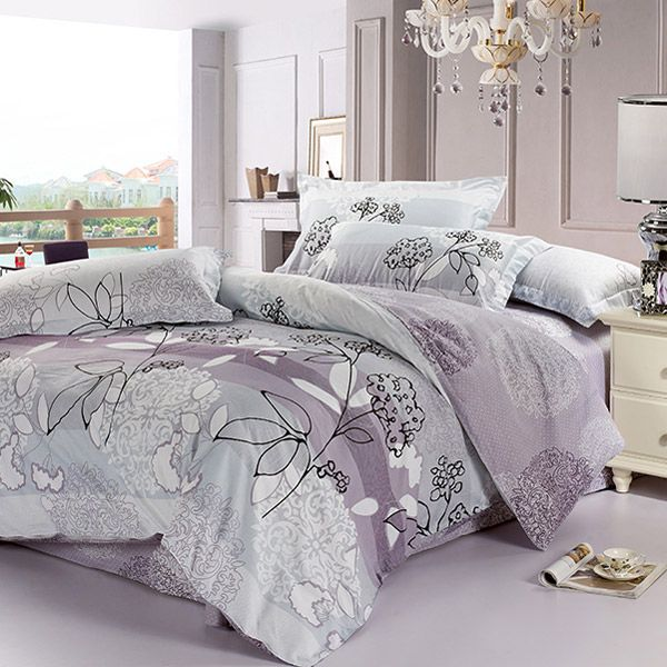 purple and grey bedding sets | ... Floral Collection 4-piece Gray-Purple Cotton Bedding Set 81540064