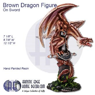 Brown Baby Dragon Figure Perched On Sword