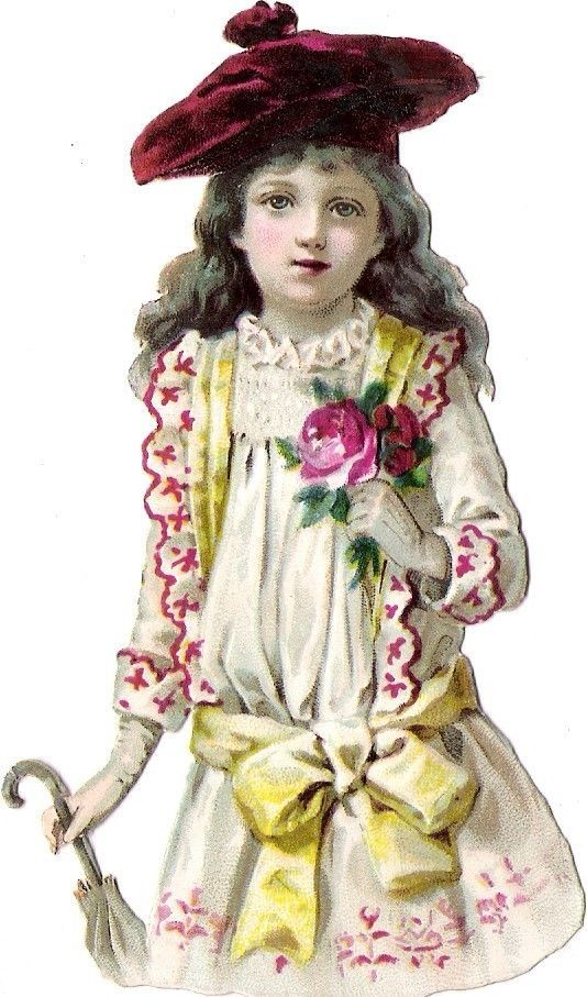 Oblaten Glanzbild scrap die cut chromo Kind kid child Lady Dame Schirm umbrella