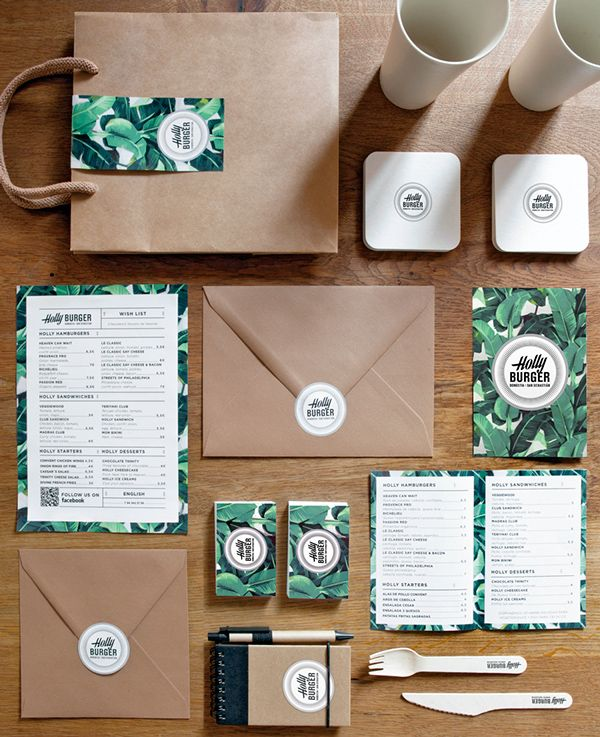 Branding and print elements for Holly Burger, the coolest burger restaurant in San Sebastian, Spain.The logotype was inspired from classical American shop windows typographies and the patterns from the 70's wallpapers from Miami hotels.
