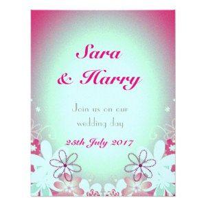 Pink Mint custom wedding Card