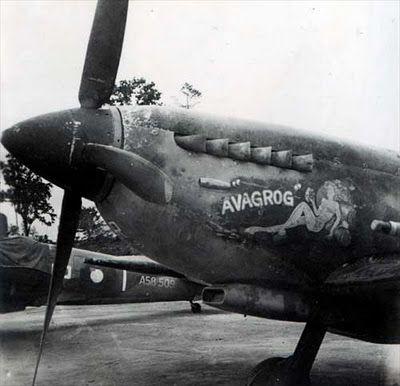 Supermarine Spitfire Mk.VIII, A58-528, UP-L 'AVAGROG' (colloquial slang for 'have a beer'), 79 Squadron RAAF, Labuan, mid 1945