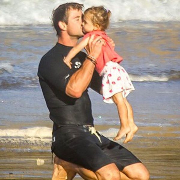 Chris Hemsworth Does Beach Yoga With Daughter India and Gives Her a Big Kiss—See Elsa Pataky's Cute Pics!  Chris Hemsworth, Elsa Pataky, India, Instagram