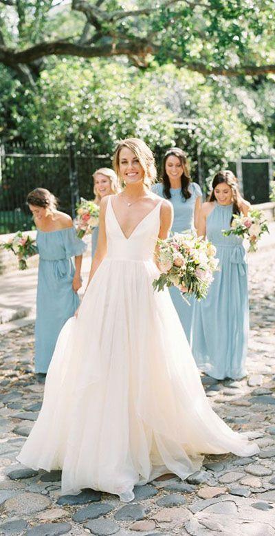 A Line Brush Train Deep V Neck Sleeveless Layers Wedding Dress,Beach Wedding Dre…
