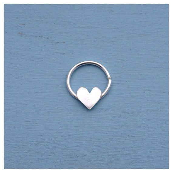 Love Heart Septum Ring - Solid Sterling Silver - Piercing Ring Daith Helix