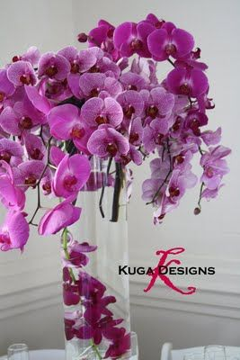 Purple submerged centerpieces #wedding #reception #decoration #flowers