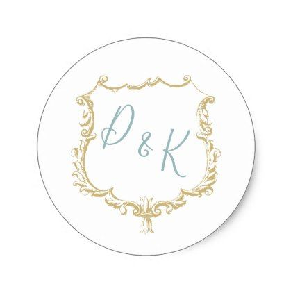 Monogrammed Crest Gold Vintage blue Wedding Classic Round Sticker - wedding cyo special idea weddings