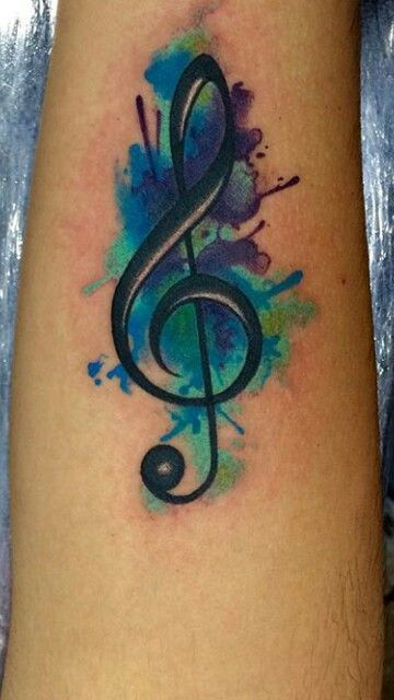 Music note tattoo. Splash tattoo
