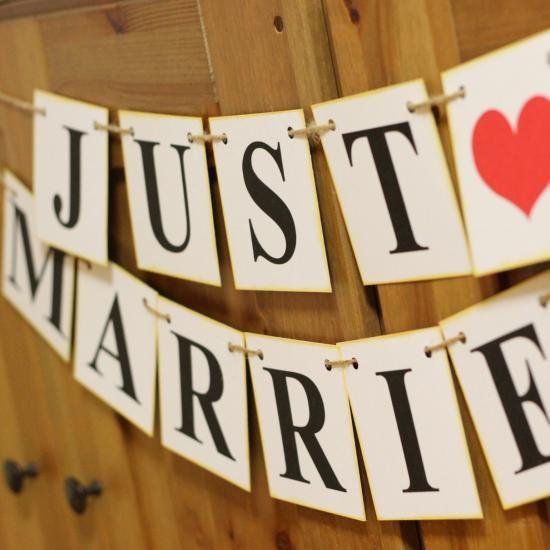 JUST MARRIED ガーランド(Vintage) - フォトプロップス・ペーパーストロー・結婚式小物販売 | EYMwedding