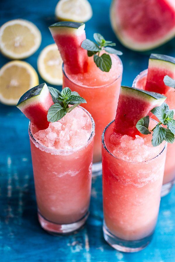 Pink watermelon lemonade slushies