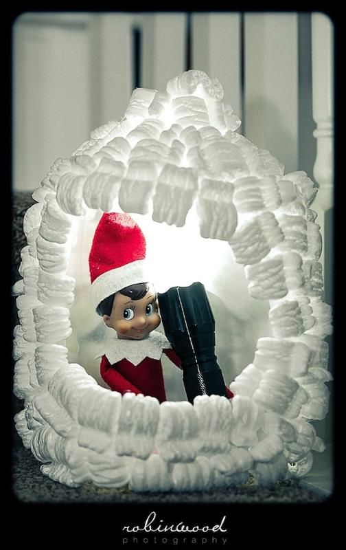 elf on the shelf ideas - love the styrofoam popcorn igloo