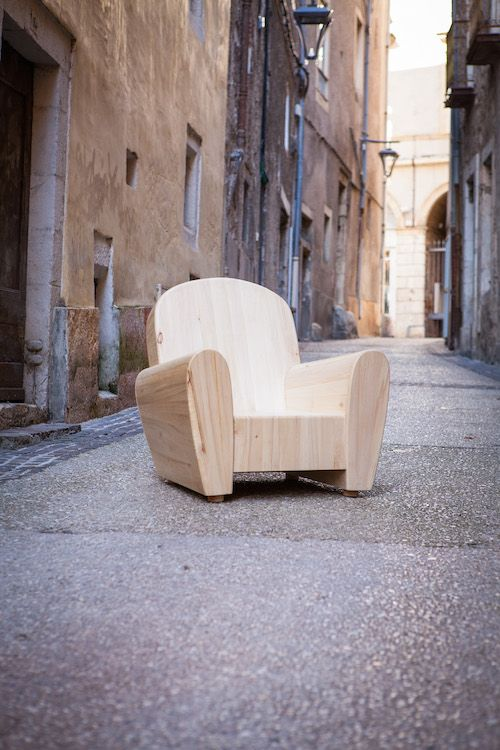 Fauteuil club 100% bois massif by Colsonwood