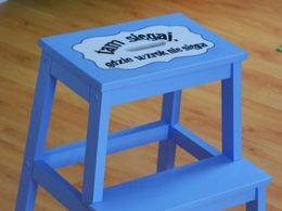 TITIRI handpainted wooden steps with a quote: 'Reach where the eye does not'
