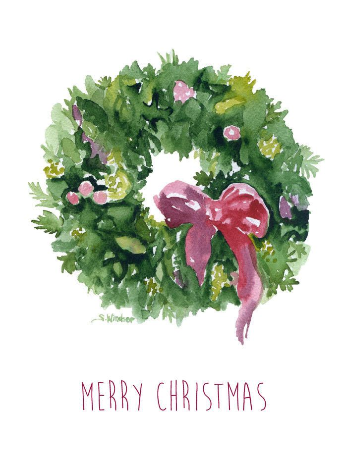 """Watercolor Christmas Wreath Cards. Set of 10 - 5""""x7"""" cards. Beautifully textured watercolor card stock is used in the printing of this original watercolor painting. The matching envelopes have a deckl"""