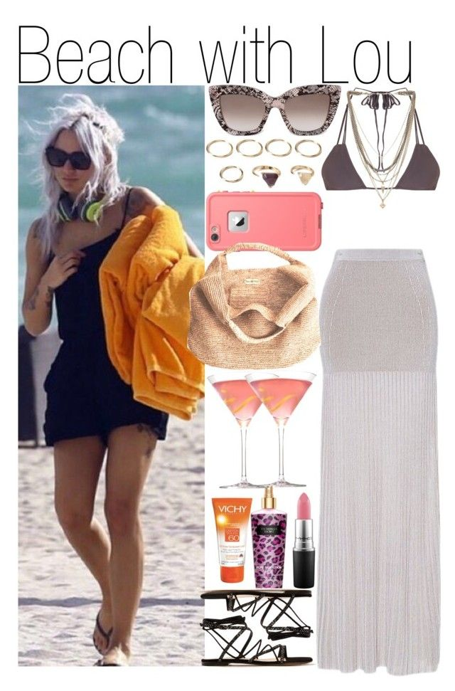 """""""Beach with Lou"""" by kiksfashion ❤ liked on Polyvore featuring Torn by Ronny Kobo, Victoria's Secret, Valentino, Ettika, Gianvito Rossi, Forever 21, LifeProof, Flora Bella, Vichy and MAC Cosmetics"""