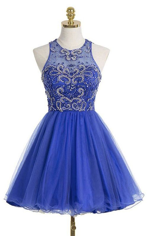 Royal Blue Mini Sleeveless Scoop Neckline A Line Tulle Beading Short Homecoming Dress