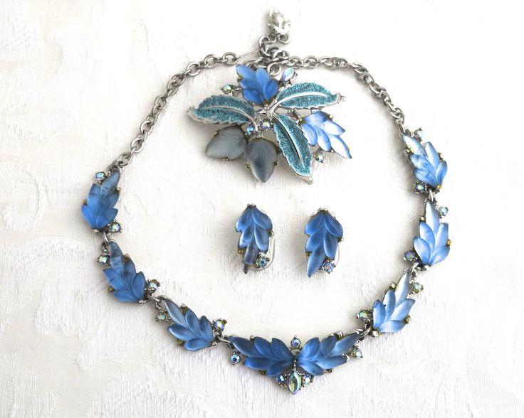 Vintage Austrian jewelry set, necklace, earrings, brooch, shaped blue glass…
