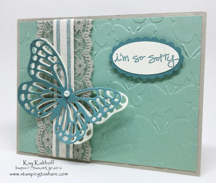 Create an elegant card with Greatest Greetings and the Butterflies Thinlits Plus the How To Video, Kay Kalthoff, #stampingtoshare