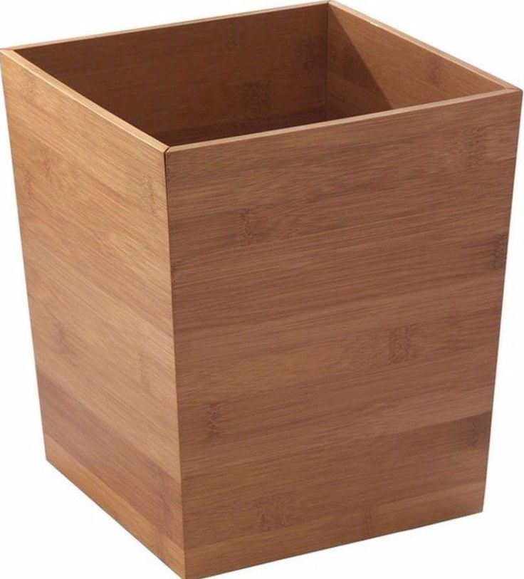 Bamboo Waste Basket Modern Wooden Trash Can Bathroom Accessory Home Office  #BathroomBasket