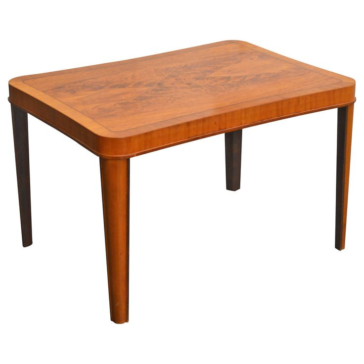 Swedish Art Moderne Walnut Intarsia Coffee or Side Table | From a unique collection of antique and modern side tables at https://www.1stdibs.com/furniture/tables/side-tables/