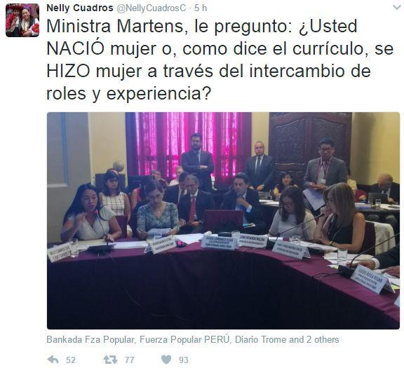 '¿Usted nació mujer o se hizo mujer?', le preguntó la congresista Nelly Cuadros a la ministra de Educación | Actualidad | Peru21