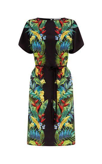 Jurk met opengewerkte schouders en tropische print | Oasis