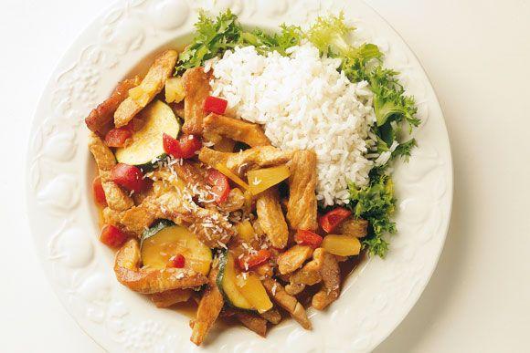 Jamaicapanne. 2 porsjoner.   Næringsinnhold pr. porsjon  NæringsstofferInnhold Energi292 kcal Protein35,1 g Fett6,4 g Karbohydrater18,4 g Jern2,4 mg