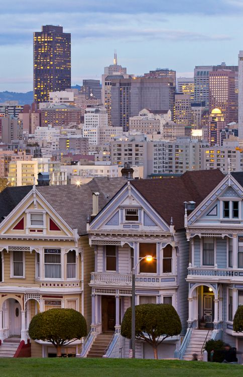 Alamo Square, San Francisco. I want to travel to San Francisco just so I can see these houses!