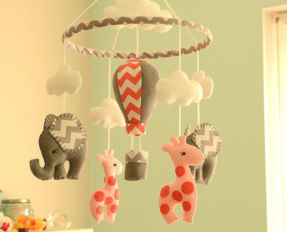 Nursery Mobile - Baby Mobile - Giraffe Elephant Mobile - Coral Grey - Made To Order